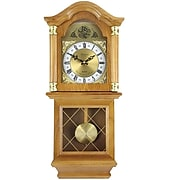 """Bedford Analog 26"""" Golden Oak Classic Chiming Wall Clock (BED-7074)"""