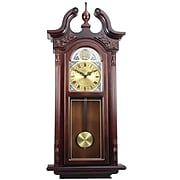 """Bedford Analog 38"""" Cherry Oak Grand Antique Chiming Wall Clock (BED-7715)"""