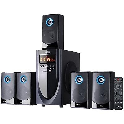 BeFree Sound 80 W 5.1 Channel Surround Sound Powered Wired Bluetooth Speaker System, Black (BFS-520-RB)