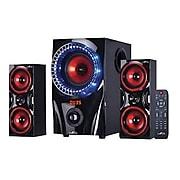 BeFree Sound 60 W 2.1 Channel Surround Sound Bluetooth Speaker System, Red (BFS-99X)