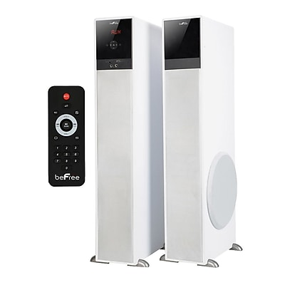 BeFree Sound BFS-TP100W 200 W Bluetooth Tower Speaker with Optical Input, White