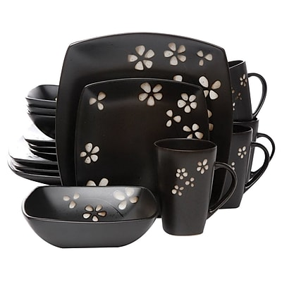 Better Homes And Gardens Sylvan Springs 16 Piece Dinnerware Set, Black (BH13-036-020-17)
