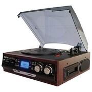 Boytone™ 3-Speed Stereo Turntable with AM-FM Radio/Digital Display, Cherry Wood (BT-17DJM-C)