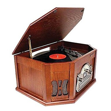 Boytone™ 3-Speed Stereo Turntable with AM-FM Radio, Wood (BT-25MB)