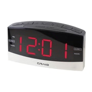 "Craig Dual Alarm Clock Radio with 1.8"" LED Display, Black/Silver (CR41805)"