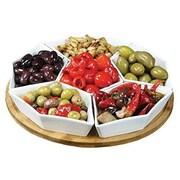 "Elama® Signature 12"" 7 Piece Lazy Susan Appetizer and Condiment Server Set, White (93596458M)"