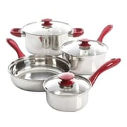 Gibson Oster Crawford 7 Piece Stainless Steel Cookware Set, Silver/Red (104428.07)
