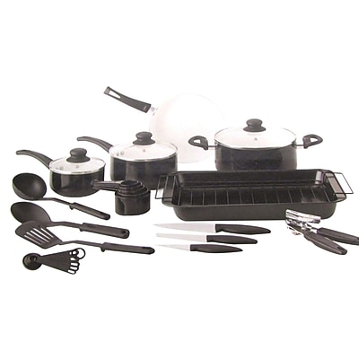 Gibson 27 Piece Non Stick Cookware Set, Black/White (72715.27) 2491674