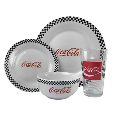 Gibson Coca Cola Vintage 4 Piece Dinnerware Place Set, White (92429.04)
