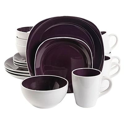 Gibson Home Chicstone 16 Piece Dinnerware Set, Purple/White (92584.16)