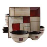 Gibson Elite Azeal Stoneware Double Bowl 16 Piece Dinnerware Set, Taupe/Red, 92703.16