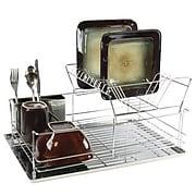 "Mega Chef 15 1/2"" Stainless Iron Shelf Dish Rack, Chrome Plated (94396414M)"