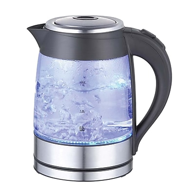 Mega Chef Glass/Stainless Steel Electric Tea Kettle, 1.8 Liter, Black/Silver (9796270M)