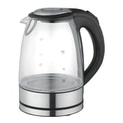 Mega Chef Glass/Stainless Steel Electric Tea Kettle, 1.7 ltr, Black/Silver (97096272M)