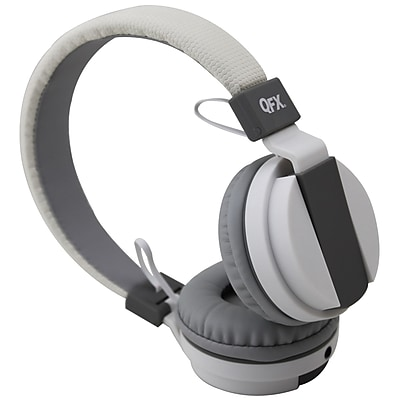 QFX® H-402M Wired Over-the-Head Stereo Headphone with Microphone, White