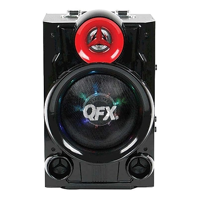 QFX® PBX-9080 600 W Battery Powered Portable Bluetooth Speaker, Black/Red