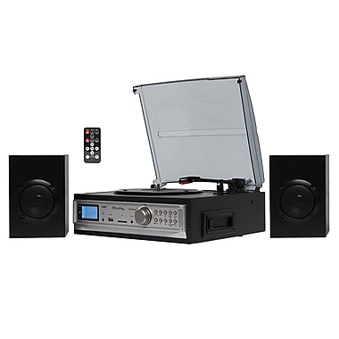 Techplay 3-Speed Turntable with Cassette Player/MP3 Encoding System, Black (ODC194 Black)