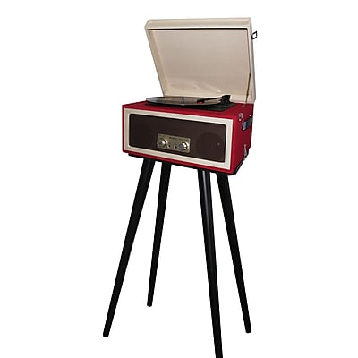 Techplay 3-Speed Portable Turntable with Matching Stand, Red (CTA99)