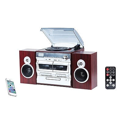 Techplay 3-Speed Turntable with Double Cassette Player/Recorder, Wood (ODC110 WD)
