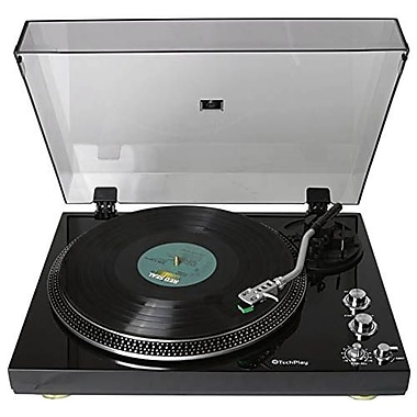 Techplay 2-Speed Analog Turntable with Built In Phono Pre-Amp, Piano Black (TCP4530)