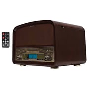 Techplay 3-Speed Turntable with CD Player/AM-FM Radio, Cherry Wood (TCP9560)