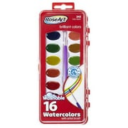 RoseArt® 16-Count Non-Toxic Washable Watercolors with Brush (DFB79)
