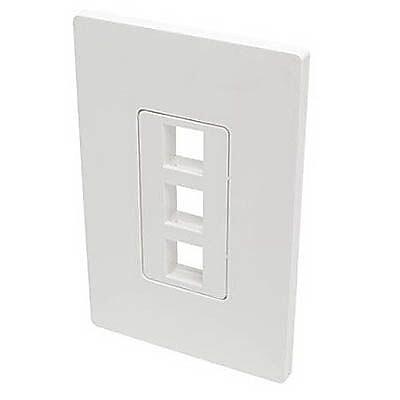 Tripp Lite Polycarbonate 3 Port Single-Gang Universal Keystone Wallplate, White (N080-103)