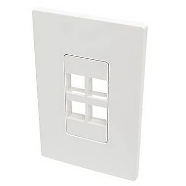 Tripp Lite Polycarbonate 4 Port Single-Gang Universal Keystone Wallplate, White (N080-104)
