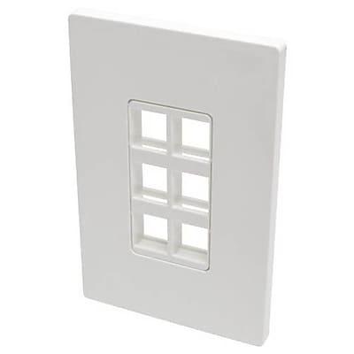 Tripp Lite Polycarbonate 6 Port Single-Gang Universal Keystone Wallplate, White (N080-106)