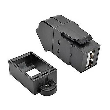 Tripp Lite USB 2.0 All-in-One Keystone/Panel Mount Angled Coupler, Black (U060-000-KPA-BK)
