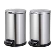 Test Rite Products Corp 3.17 Gallon Step-On Stainless Steel Trash Can (Set of 2)