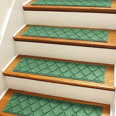 Bungalow Flooring Aqua Shield Light Green Argyle Stair Tread (Set of 4)