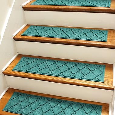 Bungalow Flooring Aqua Shield Aquamarine Argyle Stair Tread (Set of 4)