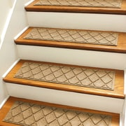 Bungalow Flooring Aqua Shield Gold Argyle Stair Tread (Set of 4)