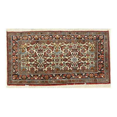 Eastern Rugs Malayer Hand-Knotted Ivory/Red Area Rug