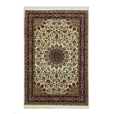 Eastern Rugs Tabriz Hand-Knotted Ivory/Red Area Rug