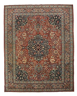Eastern Rugs Tabriz Hand-Knotted Rust/Gray Area Rug