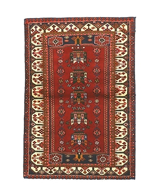 Eastern Rugs Hamadan Hand-Knotted Red Area Rug
