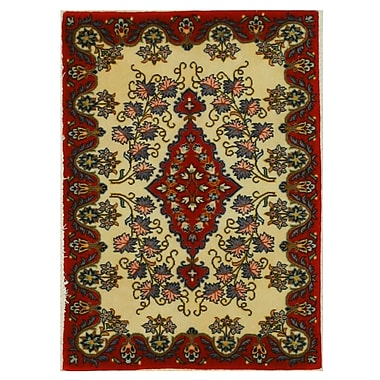 Eastern Rugs Kashan Hand-Knotted Red/Ivory Area Rug