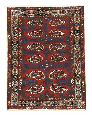 Eastern Rugs Hamadan Hand-Knotted Red/Navy Area Rug