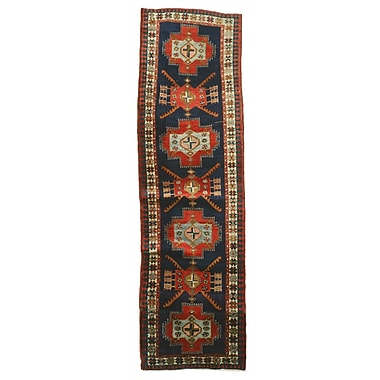 Eastern Rugs Hamadan Hand-Knotted Red/Blue Area Rug