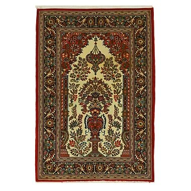 Eastern Rugs Qum Hand-Knotted Red/Ivory Area Rug
