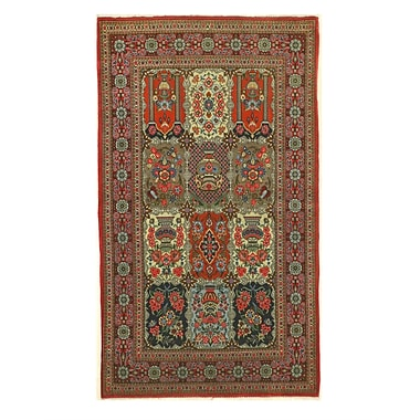 Eastern Rugs Qum Hand-Knotted Navy/Red Area Rug