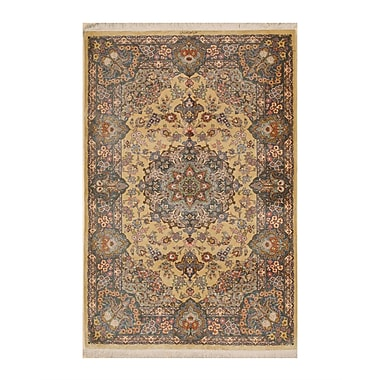 Eastern Rugs Qum Hand-Knotted Gold/Blue Area Rug