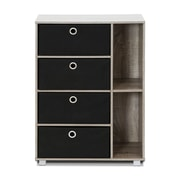 Wildon Home   4 Drawer Multi-Purpose Storage Cabinet; Gray/Black Bins