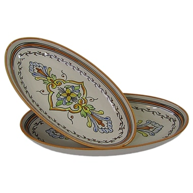 Le Souk Ceramique Salvena Stoneware Oval Platter (Set of 2)