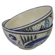 Le Souk Ceramique Aqua Fish Deep Stoneware Serving Bowl (Set of 2)