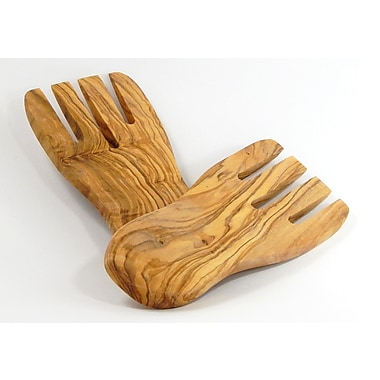 Le Souk Ceramique Olive Wood Salad/Pasta Hand (Set of 2)