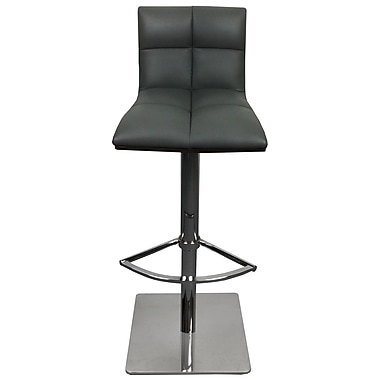 RMGFineImports The Quilt Adjustable Height Swivel Bar Stool w/ Cushion; Black