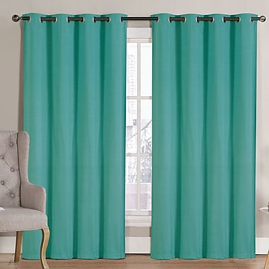 Ruthy's Outlet Solid Blackout Thermal Grommet Curtain Panels (Set of 2); Turquiose